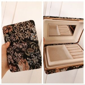 Vintage Floral Tapestry Jewelry Case